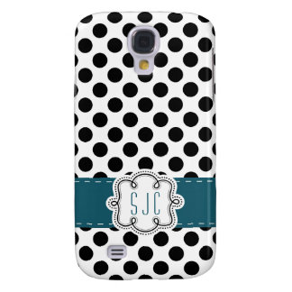 Cute Personalized Polka Dots with Initials Galaxy S4 Case