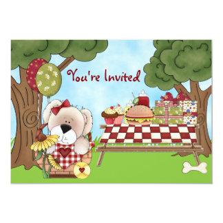 Cute Personalized Puppy Dog Picnic Girls Birthday 13 Cm X 18 Cm Invitation Card