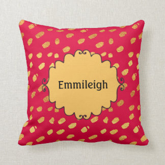 Cute Personalized Red and Gold Confetti Cushion
