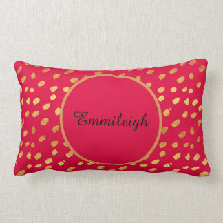Cute Personalized Red and Gold Confetti Lumbar Cushion