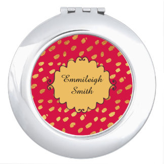 Cute Personalized Red and Gold Confetti Makeup Mirrors