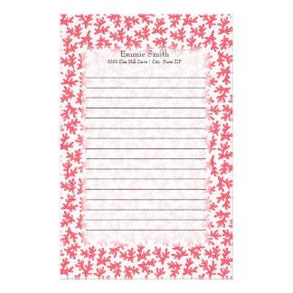Cute Personalized Red and White Coral Ocean Theme Stationery