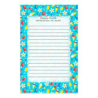 Cute Personalized Red Blue Yellow Summer Themed Stationery