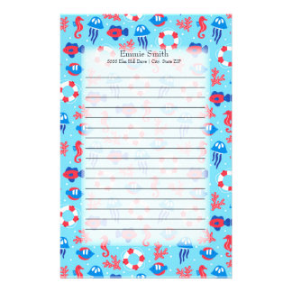 Cute Personalized Red White and Blue Summer Theme Stationery