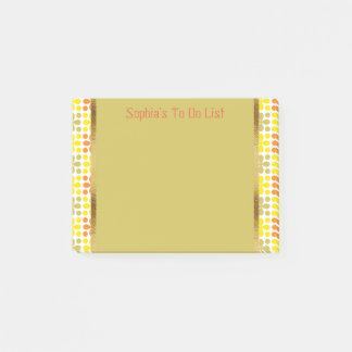 Cute Personalized Retro Yellow Orange Green White Post-it Notes