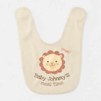 """Cute Personalized """"....'s meal time"""" Lion Baby Bib"""