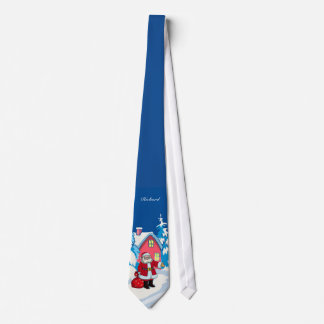 Cute Personalized Santa on a Snowy winter scene Tie