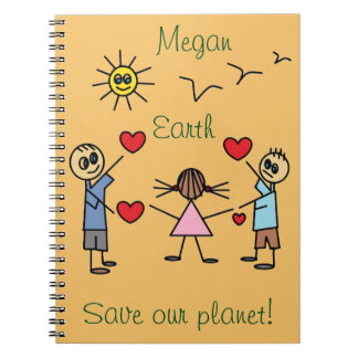 Cute Personalized Save our planet Earth Notebook
