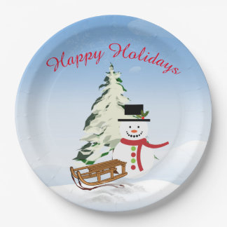 Cute Personalized Snowman Paper Plate - 9 inch