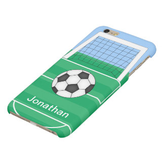 Cute Personalized Soccer Ball and goals Matte iPhone 6 Plus Case