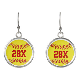 Cute Personalized Softball Earrings with NUMBER