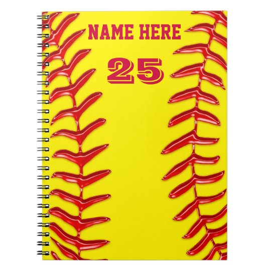 Cute PERSONALIZED Softball Notebooks, YOUR TEXT Notebooks