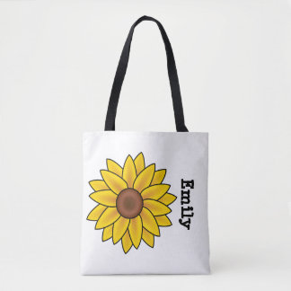 Cute Personalized Sunflower on White Tote Bag