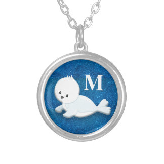 Cute Personalized White Baby Seal on Blue Glitter Silver Plated Necklace