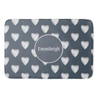 Cute Personalized White Hearts on Navy Blue Bath Mat