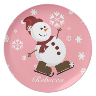 Cute Personalized Xmas Snowman Plates