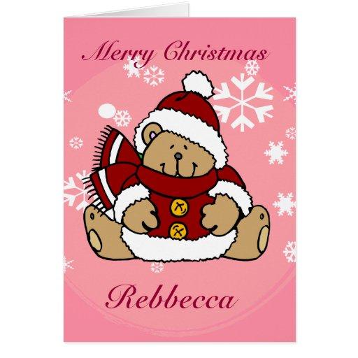 Cute Personalized Xmas Teddy Bear Card