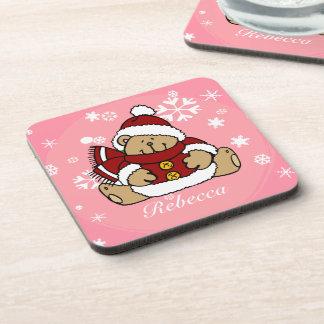 Cute Personalized Xmas Teddy Bear Coasters