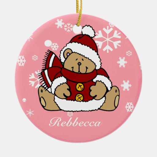 Cute Personalized Xmas Teddy Bear Christmas Tree Ornaments