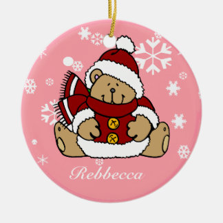 Cute Personalized Xmas Teddy Bear Round Ceramic Decoration