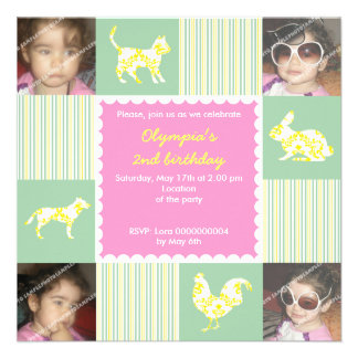 Cute pet animals stripes birthday invitation