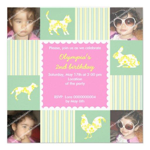 Cute pet animals & stripes birthday invitation