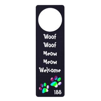 Cute Pet Dog Cat Foot Prints Welcome Text Custom Door Hangers