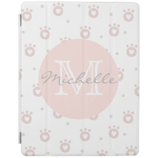Cute Pet Paws with Hearts Personalized iPad Cover