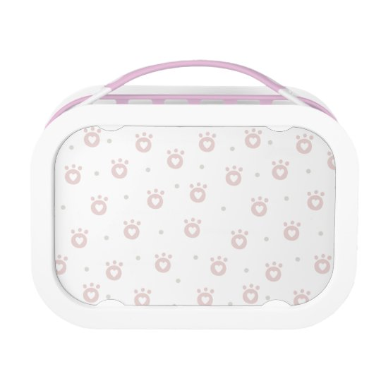 Cute Pet Paws with Hearts | Yubo Lunchbox, Pink Lunch Box