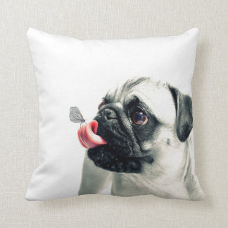 Cute Pet PUG white - personalize it Cushion