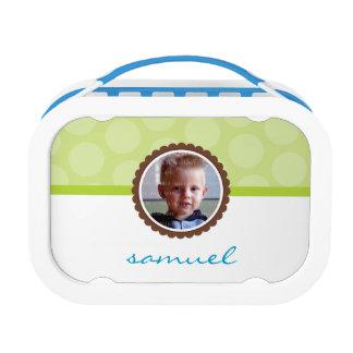 CUTE PHOTO bright polka dot pattern boy lime green Lunch Box