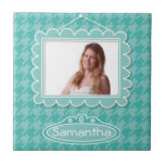 Cute photo frame with houndstooth pattern