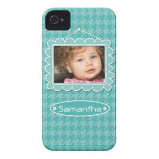 Cute photo frame with houndstooth pattern iPhone 4 cover