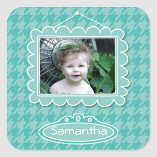 Cute photo frame with houndstooth pattern square stickers