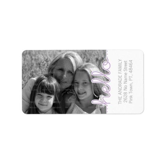 Cute Photo Purple White Hello Cutout Vertical Text Address Label