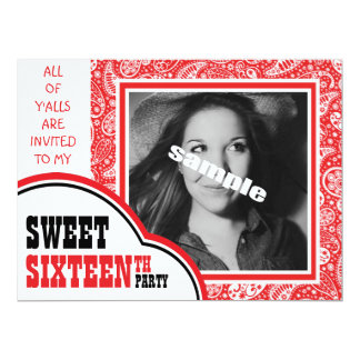 Cute Photo Sweet SIXTEEN Girl's Birthday Party Card