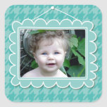Cute photoframe with houndstooth pattern square sticker