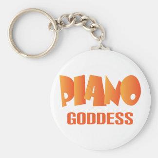 Cute Piano Goddess Music Gift Basic Round Button Key Ring