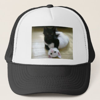 Cute pic of black and white kittens trucker hat