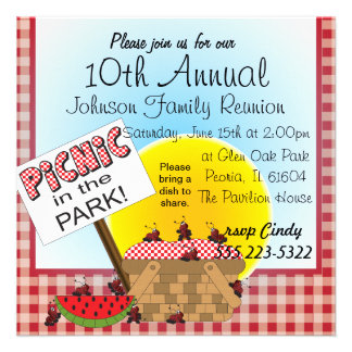 Cute Picnic In the Park Reunions Personalized Announcement