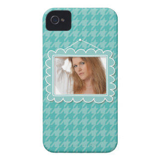 Cute picture frame with a blue houndstooth iPhone 4 covers