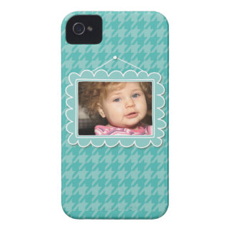 Cute picture frame with blue houndstooth iPhone 4 cover
