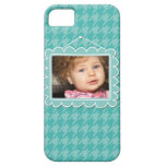 Cute picture frame with blue houndstooth case for the iPhone 5