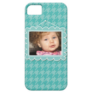 Cute picture frame with blue houndstooth iPhone 5 cover
