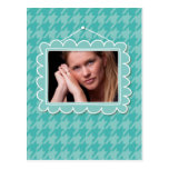 Cute picture frame with blue houndstooth post card