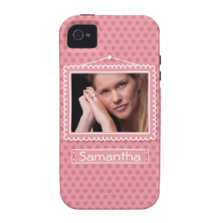 Cute picture frame with polkadots iPhone 4 cases