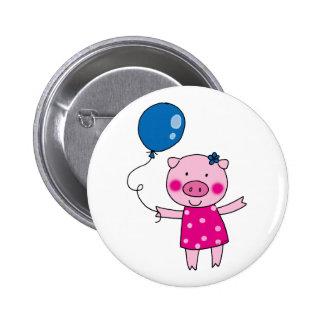Cute pig 6 cm round badge