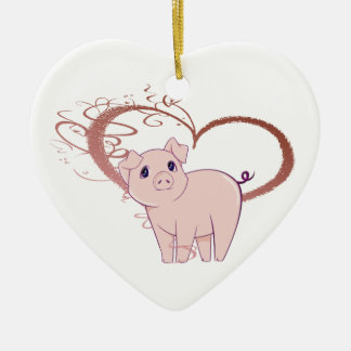 Cute Pig and Swirl Heart Christmas Ornament