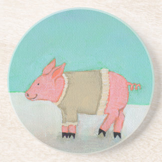 Cute pig art winter snow scene warm sweater beverage coasters
