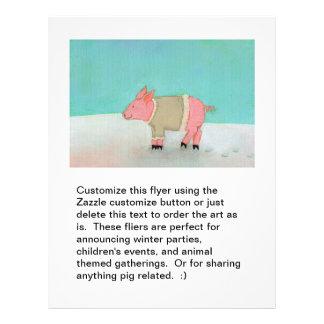 Cute pig art winter snow scene warm sweater custom flyer